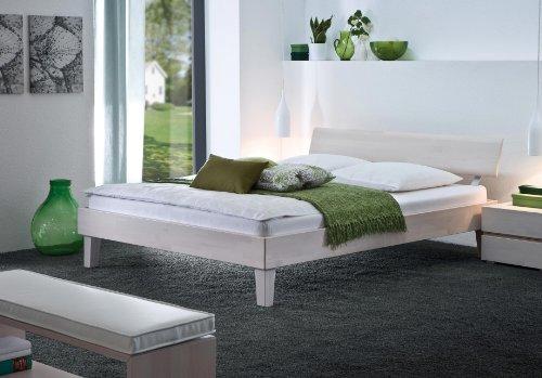 Stilbetten Bett Holzbetten Lino Buche weiß lasiert 140x220 cm