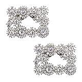 Elegantpark DH Cuadrado Clips de zapatos decorativos Brillantes diamantes de imitación de la boda del partido de noche zapato decoraciones de plata 2 piezas
