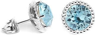 Swarovski Earrings, Birthstone Color Swarovski Stud Earrings, Swarovski Crystal Earring Studs with Certificate and Warranty, 18K White Gold Plated Hypoallergenic Stud Earrings for Women and Teens