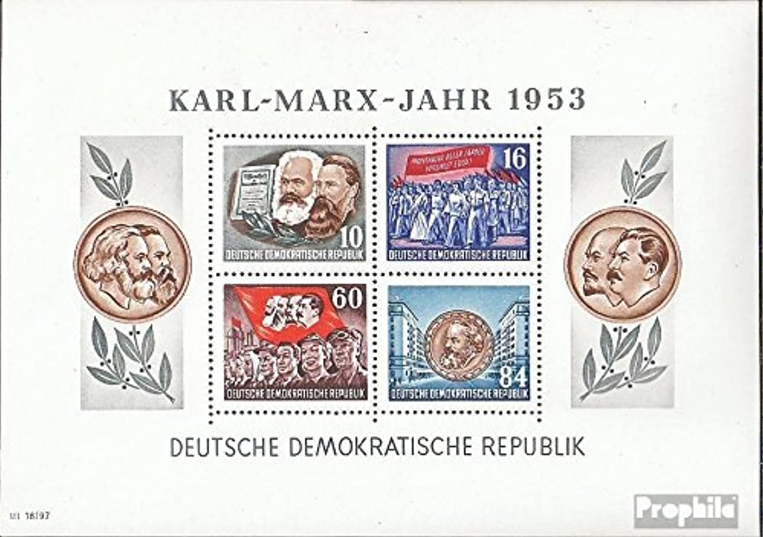DDR block9a y II, rare watermark 1953 KarlMarxYear (Stamps for collectors)