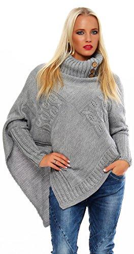 Mississhop Poncho Strick Sweatshirt Pullover Umhang Überwurf Einheitsgröße 36 38 40 S M L 11 Farben, Grau, S/M/L 36/38/40