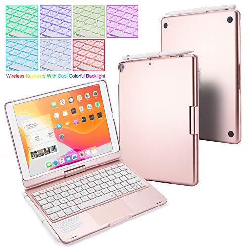 UIQELYS Funda con teclado para iPad 2020 iPad 10.2 (8ª generación), 2019 iPad Air 10.5, teclado retroiluminado con panel táctil, tablet de 10.2/10.5' (rosa)