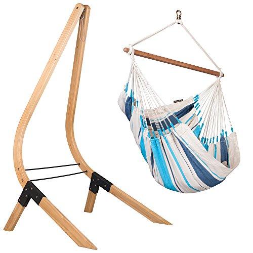 LA SIESTA - Caribena hangstoel Acqua Blue met houten frame