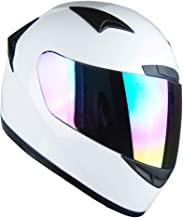 1Storm Motorcycle Bike Full FACE Helmet Booster Glossy White; Size XL (61-62 cm 23.8/24.1 Inch)