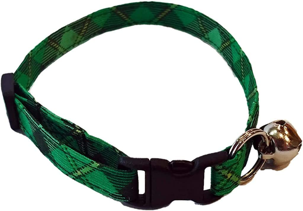 Britches4Stitches Limited time sale Green Plaid 100% quality warranty Cat Collar Patrick's Day Irish St.