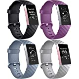 AK Correa para Fitbit Charge 3/Charge 3 SE, Reemplazo Ajustable Correa Accesorios Deporte para Fitbit Charge 3 (4-Pack Purple+Blue Grey+Black+Grey, Small)