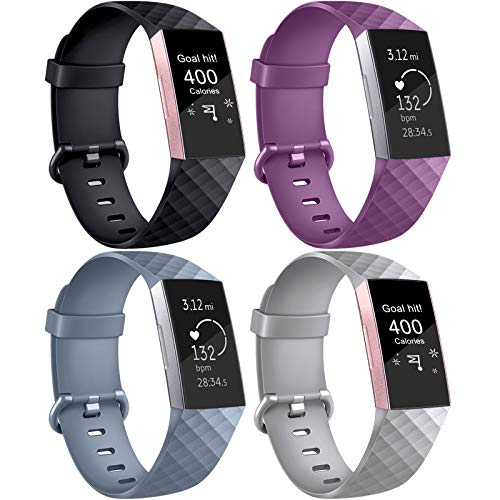 AK Correa para Fitbit Charge 3/Charge 3 SE, Reemplazo Ajustable Correa Accesorios Deporte para Fitbit Charge 3 (4-Pack Purple+Blue Grey+Black+Grey, Large)