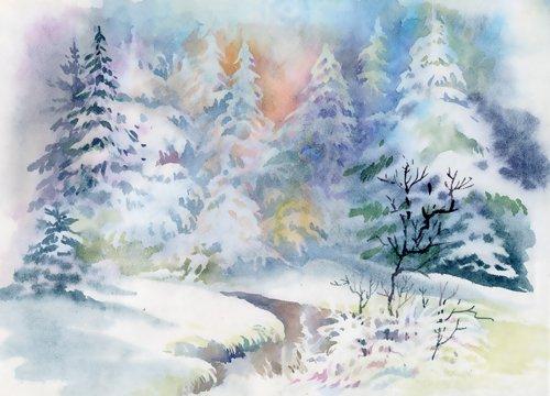 Coloc fotobehang, 150 x 220 cm, aquarel, olieverfschilderij, winterlandschap, fotografie, achtergrond, canvas, vinyl, D-9592