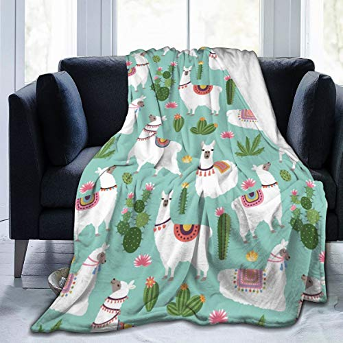 "Happy Alpaca and Green Cactus Throw Blanket for Bed Couch Sofa Fuzzy Fleece Lightweight Soft Warm Cozy Travelling Camping Air Conditioning Quilt, Best Gift for Boys Girls Kids-60""x50"" inches"