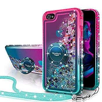 iPhone 4S Case,iPhone 4 Case Silverback Moving Liquid Holographic Sparkle Glitter Case with Kickstand Bling Diamond Bumper with Ring Protective Apple iPhone 4S Case for Girls Women -Green