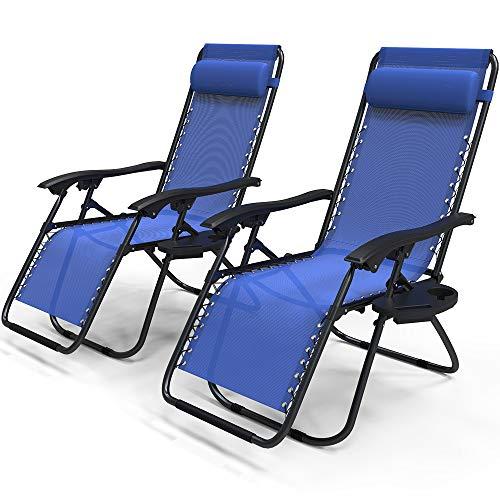 VOUNOT Liegestuhl Klappbar 2er Set, Relaxstuhl Garten mit Getränkehalter und Kopfpolster, Verstellbar Rückenlehne, Blau