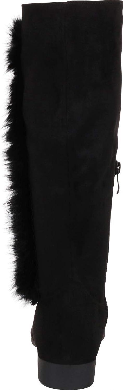 Cambridge Select Women's Faux Fur Round Toe Low Block Heel Knee-High Boot