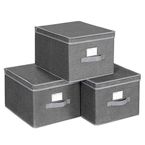 SONGMICS 3er Set Aufbewahrungsbox mit Deckel, Faltboxen aus Stoff mit Etikettenhalter, Stoffbox, Würfel, 40 x 30 x 25 cm, dunkelgrau RYFB03G