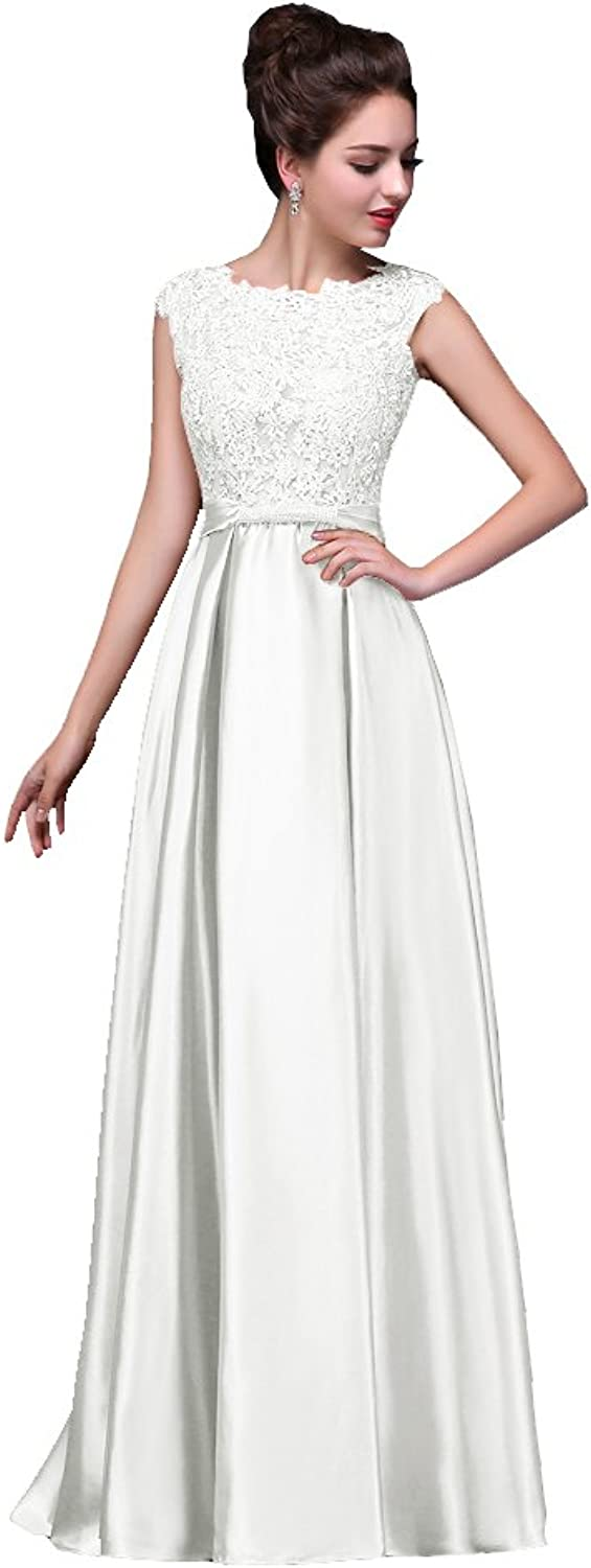 BeautyEmily Womens Long Formal Evening Dresses Appliques Prom Party Cocktail Wedding Guest Gowns White US18 Plus Size