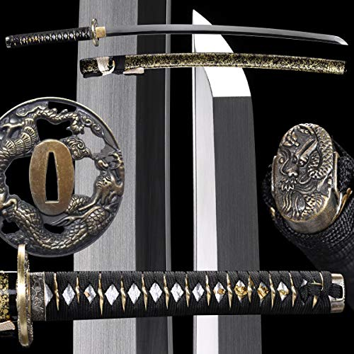 eroton Samurai Katana Full Handmade Japanese Sword,Dragon Tsuba,1060 1095 Carbon Steel Heat Tempered Sharp Functional Fully Tang 2.7ib