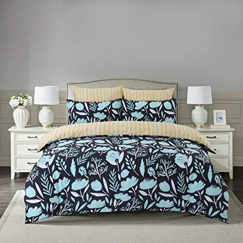 Divine Textiles Easy Care 3 Pcs Reversible Pattern Printed Duvet Cover Set With 2 Pillow Cases, Super King 260 x 220 - Botanic