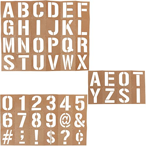 Bright Creations Oil Board Stencil Set for DIY Crafts, Number, Letter, Symbol (Pack of 50, 6 in.)