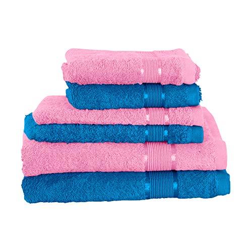 Mixibaby Juego de toallas de 6 piezas: 2 toallas de ducha, 2 toallas de invitados, 2 manoplas de baño, color rosa palo, color azul