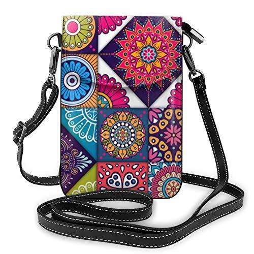 Leichte PU-Leder-Handy-Geldbörse, arabisches indisches Karomuster, kleine Crossbody-Taschen, Schultertasche, Geldbörse, Handtasche für Frauen, Schwarz - Schwarz - Größe: Einheitsgröße