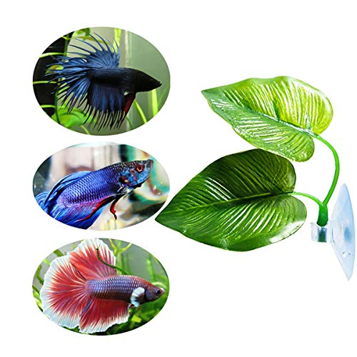 iFCOW Aquarium-Dekoration, Pflanzen, Blatt-Ornamente, Betta-Fische, Laiche, künstliche Hängematte, Bett