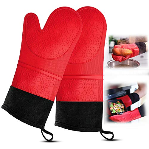 RFAQK Extra Long Silicon Oven Mitt with Heat Resistance and Quilted LinerFood Safe Baking Gloves for Cooking in Kitchen Having Soft Inner LiningNon Slip Flexible Kitchen Gloves Product Name
