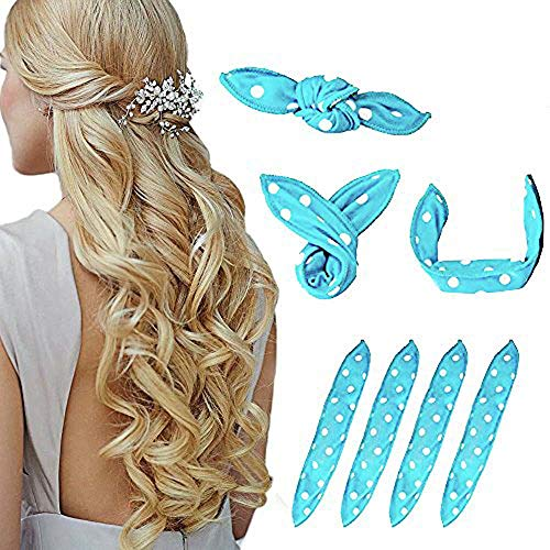 Foam Hair Curlers, Pillow Cloth Hair Rollers,No Heat Sleeping Soft Sponge Rollers for Long, Short, Thick & Thin Hair Spiral Curls Hair Styling Rollers (Blue)