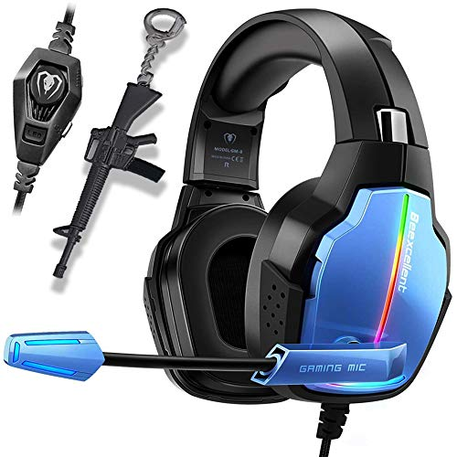Cascos PS4 con Micrófono para Xbox One PC Nintendo PS4 Tableta Laptop, Auriculares con Pro Stereo, Iluminación RGB