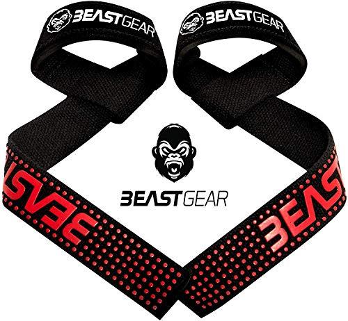 Beast Gear Correas Levantamiento de Pesas Correas Profesionales Acolchadas con Sujeción de Gel