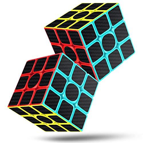 Speed Cube 3x3x3 Magic Carbon Fiber Sticker Smooth Cube, Enhanced Version Black - Pack of 2