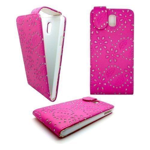 GADGET BOXX HEISSES ROSA BLING DIAMANT GLITZER FLIPP PU Ledertasche für Samsung Galaxy Note GT-N9000 3