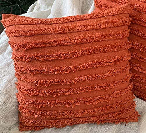 mosey Fascinating Rust Boho Throw Pillow Covers 18 x 18 Set of 2, Farmhouse Boho Decorative Pillows Cover Sets for Bed, Sofa, Couch, (Stone Washed Thick Cotton SLUB Texture Branded YKK Zipper)