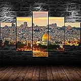 5 Piezas De Lienzo Impresión enmarcada del paisaje del atardecer de Jerusalén Lienzos Decorativos Xxl Cuadro Modernos Baratos Cuadros Para Pasillo Cuadros Decorativos Cuadros Para Dormitorios Modernos
