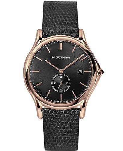 Emporio Armani Swiss Made Herren Armbanduhr Quarz Edelstahl und Leder Kleid, Farbe: Grau (Modell: ars1003)