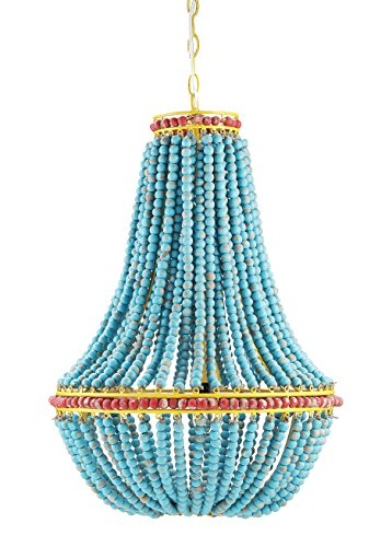 Creative Co-Op Rustic Farmhouse Unique Beaded Chandelier; Boho Light Fixture with Natural Blue Wooden Beads - Turquoise Beaded Chandelier with Yellow Red andBlue Accents