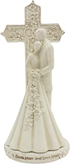CB Avalon Gallery 6.9-inch Couple with Cross and Wedding Rings 2-Piece Wedding Cake Topper Set