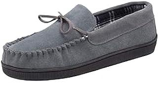 Dunlop - Mens Real Suede Leather Faux Sheepskin Fur Plush Fleece Lined Moccasin Slippers - Memory Foam - Rubber Sole - Hou...