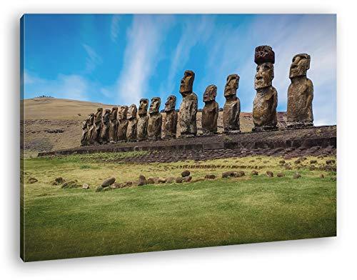 deyoli Steinköpfe auf den Osterinseln Format: 120x80 als Leinwandbild, Motiv fertig gerahmt auf Echtholzrahmen, Hochwertiger Digitaldruck mit Rahmen, Kein Poster oder Plakat