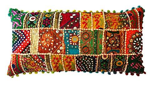 Kalakriti Funda de Cojin o Almohada Algodon Patchwork Etnico con Pompones 60x30