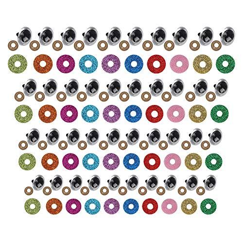100 x säkerhetsögon med färgglad glitterbricka, säkerhetsögon för fyllda djur dockor (20 mm)