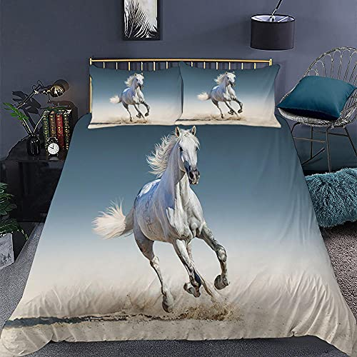 KIrSv Jun Horse Funda de Almohada con diseño de impresión en 3D, la Ropa de Cama de Animales Favorita para niños y niñas, Adecuada para una Cama Doble tamaño king-20_264 * 239cm (3 Piezas)