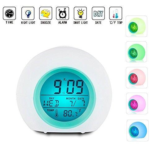 Hangang Digitale wekker voor kinderen met kalender en thermometer, wekker met 7 ledlampen en 8 soorten geluiden, bedlampje