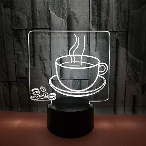 Kaffeetasse Hologramm 3d Lampe Nachttischlampe, Nachtlicht fürs Kinderzimmer, LED Lampe fürs Wohnzimmer