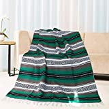 Eccbox 72 X 51 Inch Mexican Throw Blanket with Assorted Bright Colors Woven Mexican Falsa Serape Blankets for Yoga, Picnic, Bedding, Home Decor, Tablecloth (Green)