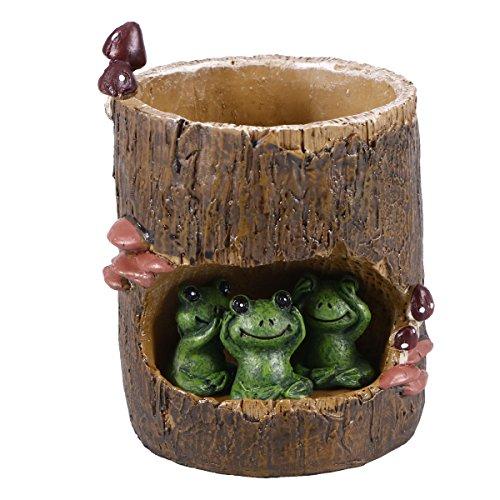 VORCOOL Mignon Grenouille Verte Fleur Orpin Pot de Fleurs artificielles Bonsai Jardinière Box Plante Lit Bureau Home Garden Pot de Fleurs Décor
