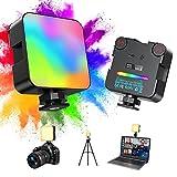 Luz de Video LED RGB Mini Luz de Cámara Lámpara de Fotografía Regulable 2500-9000KCRI95+ ,luz de Relleno USB Recargable, Foco Led Portátil con Incorporada batería de 2500 mAh para fotografía, Vlogs