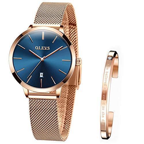 Verhux Reloj de Mujer Acero Inoxidable Impermeable Analogico Cuarzo Reloj Regalo Cumpleaños Mujer