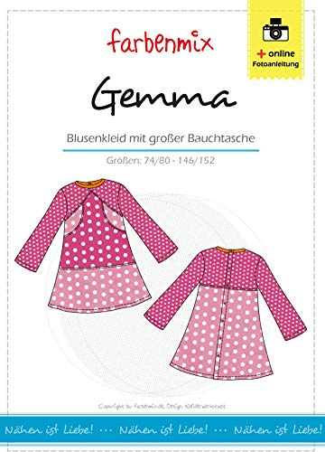 Farbenmix Gemma Schnittmuster (Papierschnittmuster in den Größen 74/80-146/152) Kittelkleid