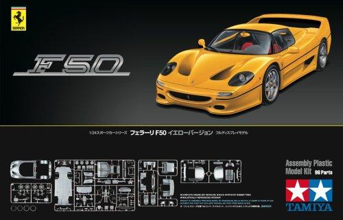 TAMIYA 300024297 1:24 Ferrari F50 Gelb Strassenversion, originalgetreue Nachbildung, Modellbau, Plastik Bausatz, Basteln, Hobby, Kleben, Plastikbausatz, Zusammenbauen, unlackiert