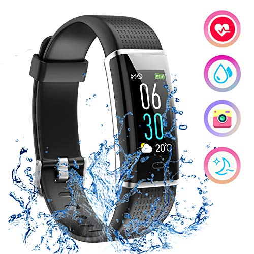Mpow Fitness Tracker IP68 Orologio Fitness Pedometro, Cardiofrequenzimetro da Polso, Calorie, Monitoraggio del Sonno Activity Tracker Donna Uomo Contapassi Smartwatch per Android iOS, Nero