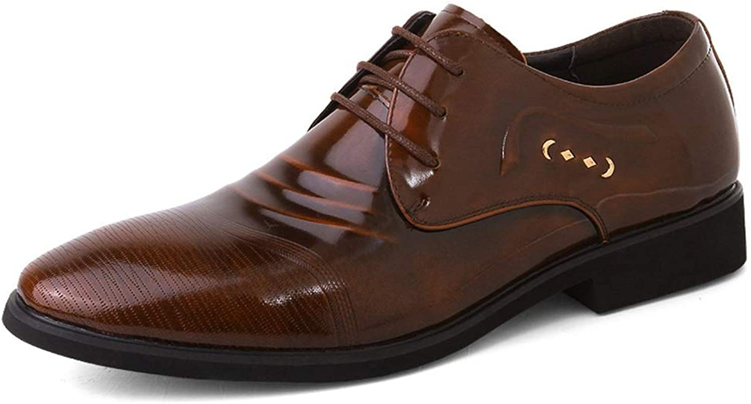 MUMUWU Casual Patent Oxford shoes Men Genuine Leather Business Wedding Dress Loafers Anti-Slip Low Heel Lace Up Round Toe (color   Brown, Size   7 M US)